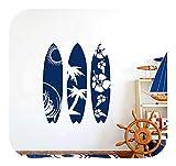 Peel And Stick Wallpaper Floral, Pegatina De Pared De Vinilo Para Tabla De Surf Palmera Wave Beach Entusiastas De Los Deportes Extremos Dormitorio Para Adolescentes Dormitorio Decoración Para El H