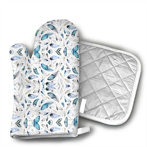 MEILVWEN Grey Black & White Feathers Oven Mitt and Pot Holder Set,Heat Resistant for Cooking and...