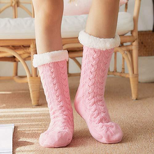 wefwef Weibliche Rosa Hausschuhe Indoor Floor Socke Warm Plüsch Home Non-Slip Hausschuhe Schuhe Haus Weiche Boden Hausschuhe Socken Warm Soft Flauschige Socken Indoor Room Non-Slip