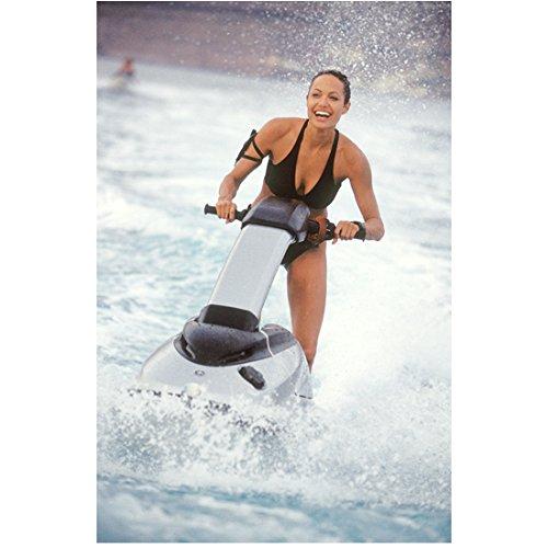 Lara Croft Tomb Raider Angelina Jolie Riding Jet Ski with Big Smile 8 x 10 Inch Photo