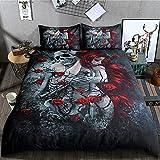 ZHH Skull Duvet Cover King Size Set Goth Halloween Themes Bedding Set (1 X Quilt Cover, 2 X Pillowcases)