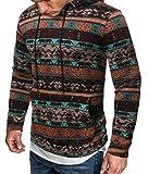 SELX - Sudadera con capucha para hombre, diseño étnico de hip hop con bolsillos - Marrón - Large