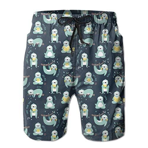 yting Pantalones Cortos de Playa con Pantuflas de Playa de Slow Life Sloth Pattern Swim Trunks con Bolsillos de Forro de Malla para papá