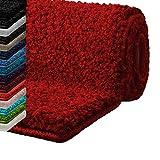 casa pura Tappeto Bagno Antiscivolo - Tappeti per Bagno Assorbenti, Shaggy - Spessore Alto e Morbido in 16 tonalità Tinta Unita e Varie Misure - 80x150 cm - Rosso