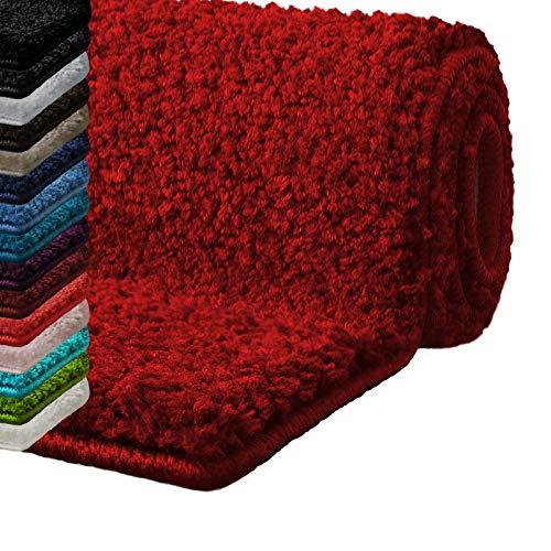 casa pura Badematte Hochflor Sky Soft | Weicher, Flauschiger Badezimmerteppich in Shaggy-Optik | Badvorleger rutschfest waschbar | schadstoffgeprüft | 16 Farben in 6 Größen (70x120 cm, rot)