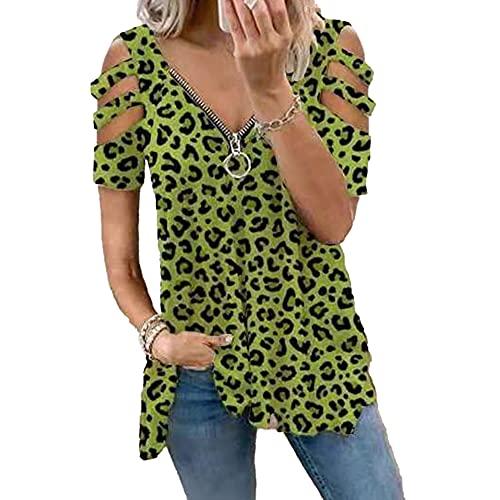 Mayntop Camiseta de verano para mujer, manga corta, hombros descubiertos, con cremallera, talla grande, holgada, con cuello en V
