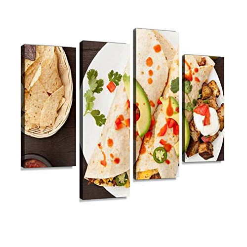 YKing1 Breakfast Burrito Wall Art Painting Pictures Print On Canvas Stretched & Framed Artworks Modern Hanging Posters Home Decor 4PANEL