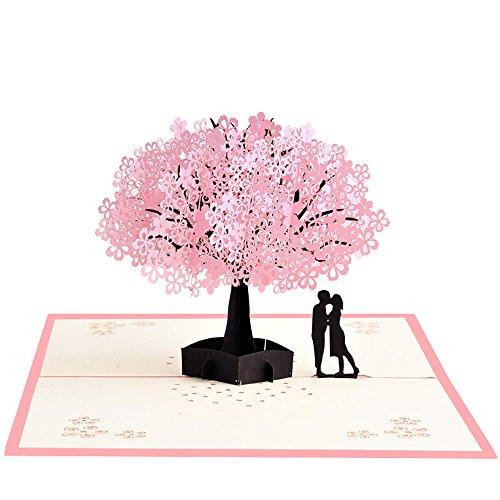Meihejia Pop Up Birthday, Anniversary Card for Husband, Wife, Boyfriend, Girlfriend - Cherry Blossom Tree with Couples