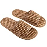 TENDYCOCO Bamboo Slippers Flip Flop Slip on Bath Spa Slippers Sandal Indoor Lightweight Shoes for Men Women(42/43)