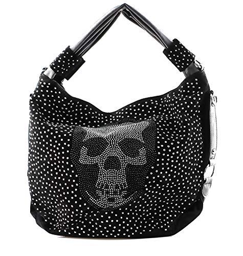 Dames handtas doodskop skull been trapezium gothic punk damestas schoudertas brillook groot strass look