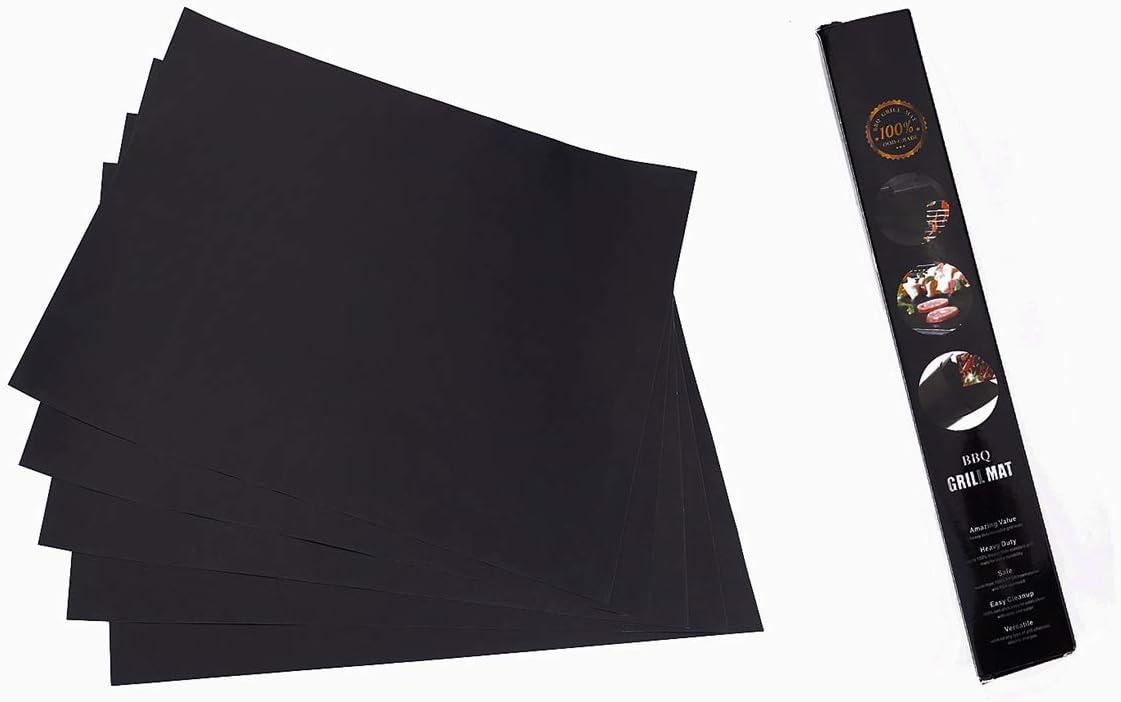 LYTEDB 3pcs / 5pcs PTFE Non-adhésif BBQ Grill Mat Plaque Chauffante Barbecue Doublures De Cuisson Portable en Plein Air Pique-Nique De Cuisine Outils 44x33 cm 1pc black