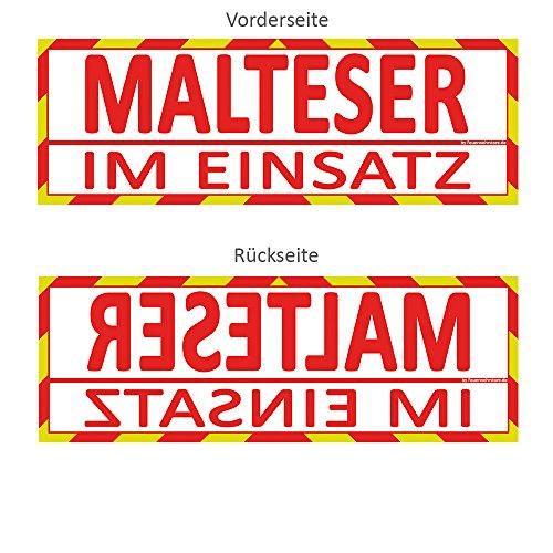 Feuerwehrstore Malteser im Einsatz Wendeschild WSB2 für die Sonnenblende in Normal- & Spiegelschrift Malteser
