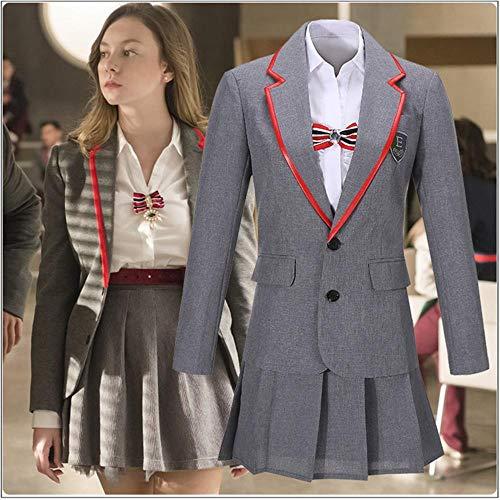 Serie de televisión Elite Uniforme escolar Gris Mujer Cosplay Disfraz Personalizado Mujeres adultas Camisa Chica Falda plisada Uniforme escolar Cinturón de lazo