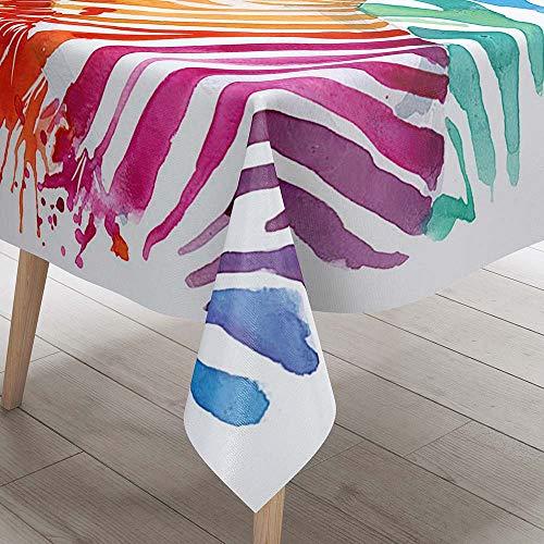 DOTBUY 3D Tischdecke Abwaschbar, Wasserabweisende Tischdecke Rechteckig Abwischbare Wachstuch für Desktop Dekorative Tuch Hotel Bankett Party Garten (Buntes Zebra,100x140cm)