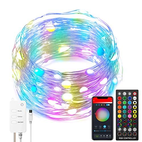 Luces de hadas LED compatibles con Alexa, RGB USB Wireless Bluetooth Smart App Control Fairy String Light Kit con control remoto para Navidad Dormitorio Fiesta Boda Hogar Jardín Decoraciones