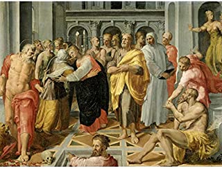 Tibaldi Visitation Meeting Mary Elizabeth Saints Art Print Canvas Premium Wall Decor Poster Mural
