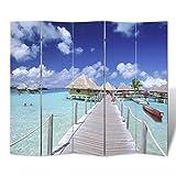 Vislone Plegable Biombos con Diseño de Playa Biombo Divisor Separador de Habitaciones Espacios Divisoria 200x180cm
