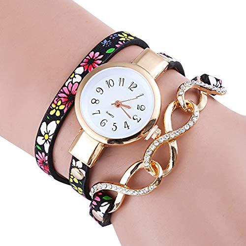 Reloj de Pulsera para Mujer, diseño Floral, 3 Capas, analógico, Estilo étnico, Movimiento de Cuarzo, Color Rosa Rojo (con batería integrada)