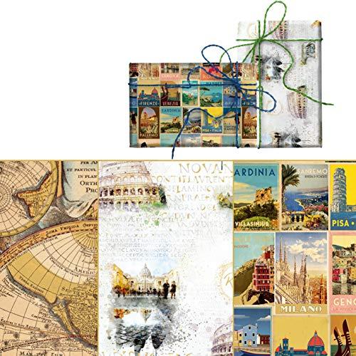 ARCA Hochwertiges Geschenkpapier mit Gold, 100 x 70 cm, mit Designs von Rom, Stadt, Welt (Traverl)