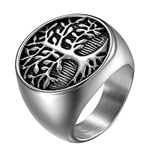 OIDEA Vintage Edelstahl Biker Gravur Lebensbaum Herren Ringe, Ehering Verlobungsring Bandring, schwarz Silber für Männer - Ringgrößen 65 (20.7)