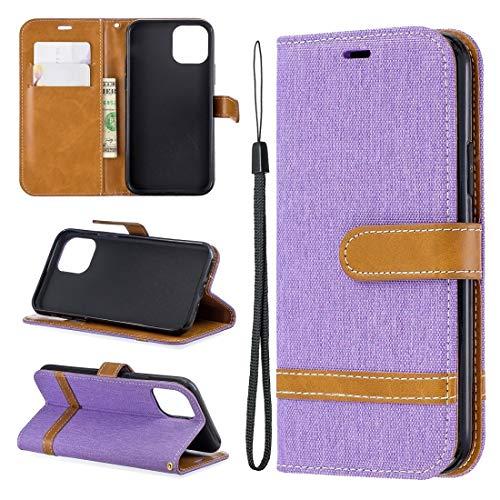 Banaz - Funda de piel con tapa horizontal para iPhone 11 Pro, con soporte, ranuras para tarjetas y cartera (color: morado)