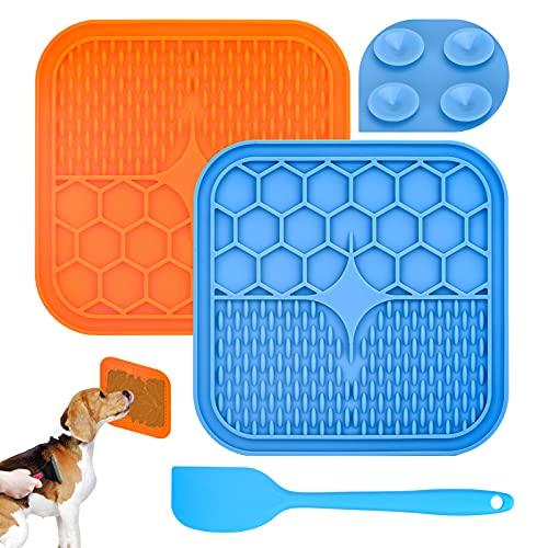 joyliveCY Leckmatte für Hunde, 2er Pack Hundeleckmatte Leckmatte Langsamfütterer mit Spatel für Hunde und Katzen, Hunde-Katzen-Leckmatte für Langsamfütterer Ablenkungsspielzeug(Blau, Orange)