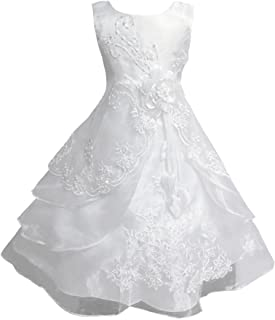 iixpin Chiffon Abito Elegante Bambina Cerimonia Principessa Vestito Damigella Sposa Matrimonio Vestiti Comunione per Bambini Tutu Lungo Ballerina Cosutume