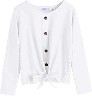 Greatchy Girls Long Sleeve Shirts Tie Front Knot Button Plain Cotton Casual Cute Tunic Tee Tops Blouse Undershirt