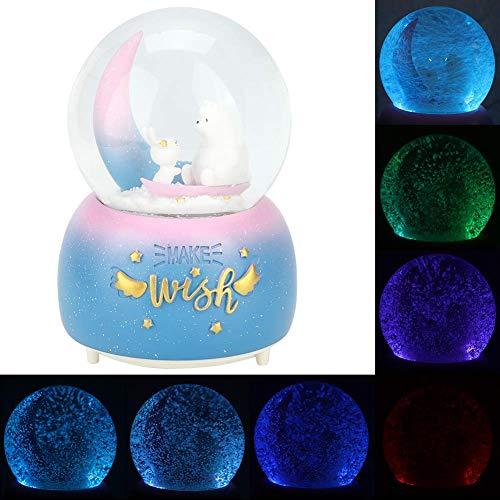 Elise Estrella de la Luna de Dibujos Animados Decoración Música Bola de Cristal con la luz del Copo de Nieve decoración del hogar Regalo (1) Yjiangluochen (Color : 1)