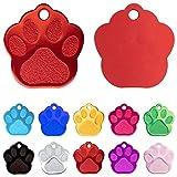 Iberiagifts - Placa en Forma de Huella para Mascotas pequeñas-Medianas Chapa Medalla de identificación Personalizada para Collar Perro Gato Mascota grabada (Rojo)