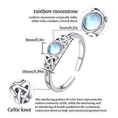 Moonstone Ring Sterling Silver Celtic Knot Ring Rainbow Moonstone Jewellery for Girls Women Valentine's Day Gifts #2