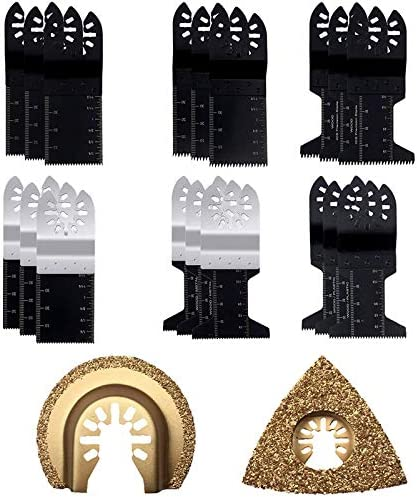 YDong 20PCS WoodMetal Oscillating Multitool Quick Release Saw Blades Fast Fit Mixed Blades Oscillating Saw Blade Kit