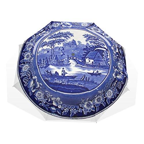 LASINSU Paraguas Resistente a la Intemperie,protección UV,Azul Delft Historia Muy Antiguo Holandés...