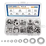 304 Stainless Steel Washers Hardware 684 Pcs in 9 Sizes - M2 M2.5 M3 M4 M5 M6 M8 M10 M12 Flat Washers Assortment Kit Metal Washers Ring for Home Decoration, Factories Repair, Kitchens