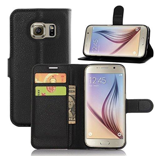 COPHONE® Funda de Cuero Negro Samsung Galaxy S7. Funda Protectora Funda Monedero Negro Galaxy S7 . Carcasa Magnético Galaxy S7