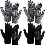 SATINIOR 4 Paar Winter Strickhandschuhe Strick Touchscreen Warme Handschuhe Anti-Rutsch Stretch...