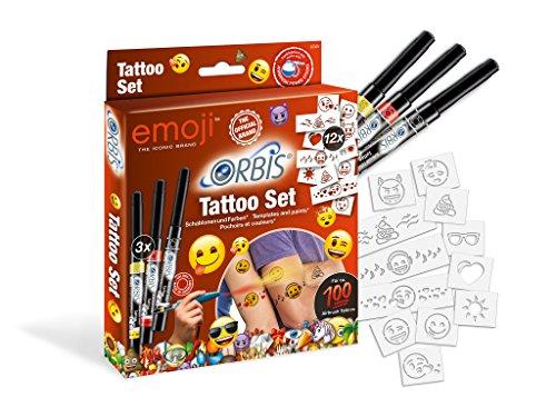 Unbekannt Orbis 30309 Emoji Tattoo Set mit Farbpatronen für die Haut und selbstklebenden Schablonen Kinder und Allen Anderen Kreativen, Zubehör für das Airbrush Power Studio 30020, Mehrfarbig