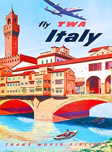 Home Furnishing Decoration 16x12,Fly TWA Italy Florence EuropeAdvertisement,Vintage Retro Tin Sign Home Pub Bar Deco Wall Decor Poster