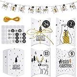 MELLIEX Cajas de Regalo Navidad, 24 Piezas Caja de Papel Dulces Cajitas para Galletas para Decoración Regalo Árboles de Navideña