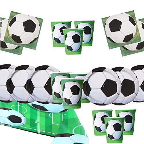 football party Pack Fournitures Enfants Anniversaire Vaisselle décoration de Football pour 16 invités - Ballons de plaques de fête de Football - Ballons gratuits Pompes Bougies