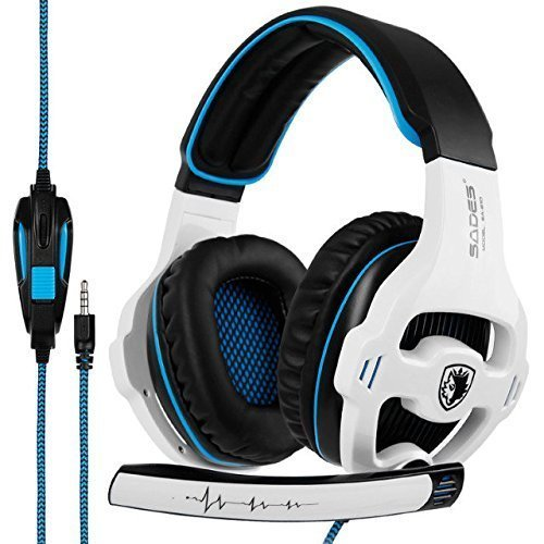 [nuevo revisado Versión] Sades 810s Stereo Gaming Headset Auriculares con compensación de volumen Mic para New Xbox One, PS4, PS4 Pro, PC, Laptop, Mac, Phone - Blanco