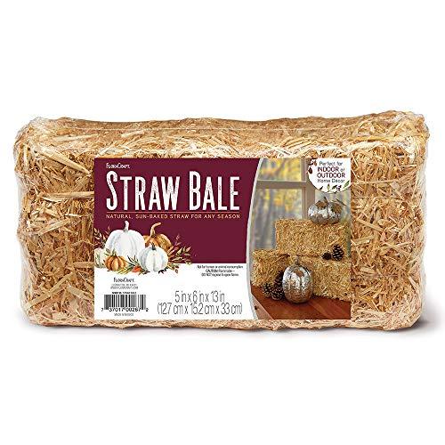FloraCraft Decorative Straw Bale 5 Inch x 6 Inch x 13 Inch Natural