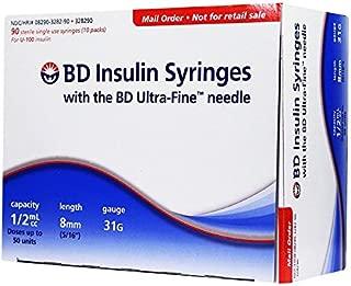 BD Ultra-Fine Insulin Syringes Short Needle 31G 1/2cc 5/16