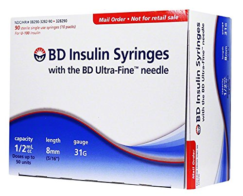 BD Ultra-Fine Insulin Syringes Short Needle 31G 1/2cc 5/16' 90ct