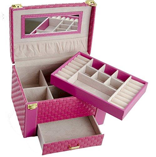 Feibrand Caja Joyero Caja para joyerías Organizador Patrón Tejido con...