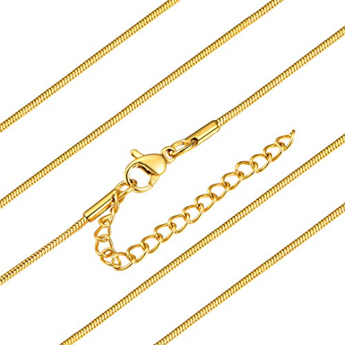18K Gold Plated Necklace Snake Chains for Men Women Stainless Steel Jewellery Making, 1.2mm Wide, Length: 18 Inch