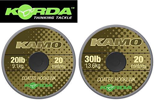 Korda Kamo Coated Hooklink 20m - Vorfachmaterial für Karpfenvorfächer, Vorfachschnur für Karpfenmontagen, Schnur für Karpfenrigs, Tragkraft:30lbs/13.6kg