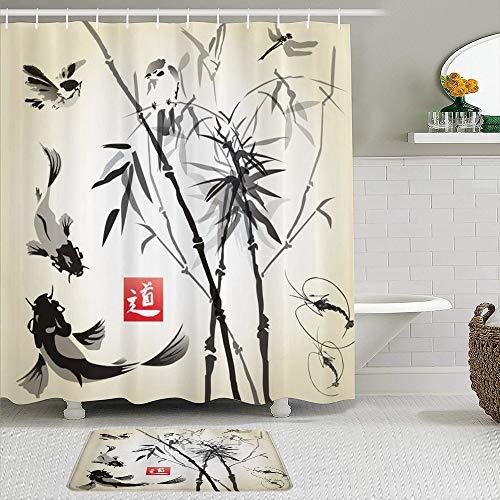 KISSENSU Set di Tende per Doccia,Stile Orientale della Pittura Astratta Giapponese dei Pesci e delle Foglie di bambù degli Uccelli artistici,Antiscivolo Tappetino da Bagno,Decorazioni per la casa