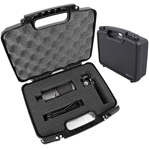 CASEMATIX Microphone Hard Case Compatible with Audio Technica ATR2500x, ATR2100X, AT2035, AT2020, ATR2100 USB, AT2031, ATR2500, AT2050, AT2022 Studio and USB Microphones and Accessories