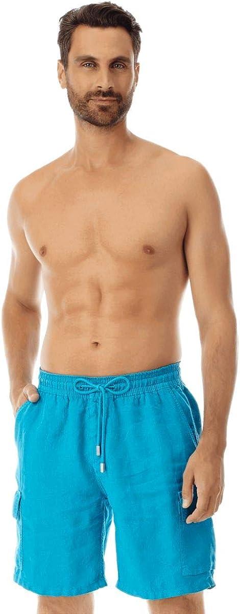 Vilebrequin Men Cargo Linen Minneapolis Mall Recommendation Shorts Bermuda Solid